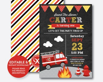 Instant Download, Editable Fire Truck Birthday Invitation, Firetruck Invitation, Fireman Invitation, Firefighter Invite, Chalkboard(CKB.521)
