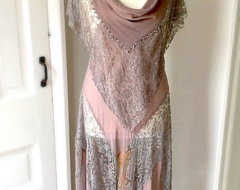 Exquisite 1920s Vintage Beaded Flapper Dress Gatsby Party