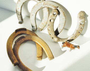 Horseshoes / Vintage Throwing Horseshoes with a Bonus Shoe / 2 Silver and 2 Gold /  Heavy Cast Iron Set