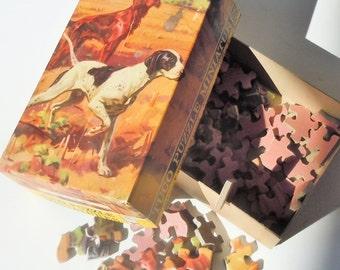 Hunting Dog Puzzle / Vintage Wood Pieces / Beautiful Working Dog Image
