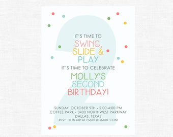 Multi-colored Simple Confetti Dot and Striped Swing, Slide and Play Park Birthday Party Invitation for girls-FREE SHIPPING or DIY printable