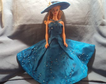 Vintage Barbie Doll Blue Dress with Matching Hat