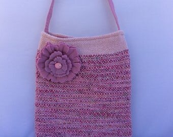 Pink sparkle handwoven bag