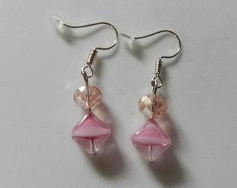Pretty in Pink beaded earrings OOAK V5461 Ready to ship