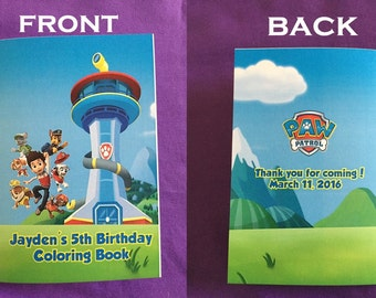 12 Personalized Paw Patrol Coloring Books / with Crayons, Party Favors