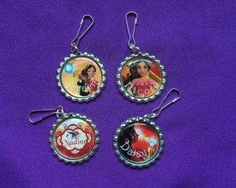 12 Personalized Elena of Avalor Zipper Pulls, Party Favors