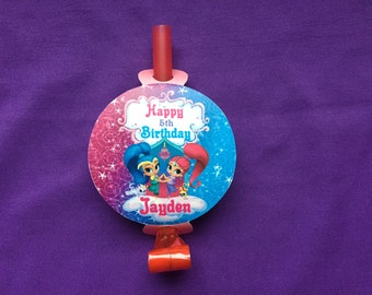 12 Personalized Shimmer and Shine Party Blowouts, Party Blowers, Party Favors
