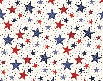 Fabric by the yard - Fat Quarter Bundle - Quilt Fabric - Modern fabric - Americana Stars Cream -Riley Blake Fabric - Patriotic fabric