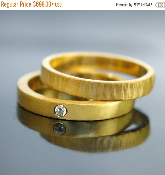 ON SALE Unique wedding ring set His and hers by RAVITKAPLANJEWELRY