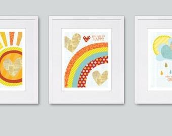 "Nursery Wall Art, Kids Wall Art, You are My Sunshine, 8x10"" Prints"