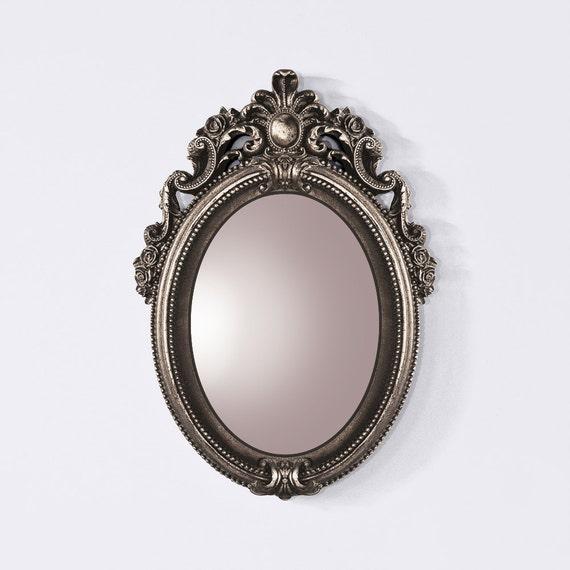 Miroir baroque bronze style vintage miroir argent ovale for Miroir style baroque