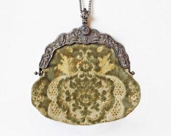 Velvet Tapestry Brocade Purse, Carpetbags of America, Circa 1960's, Victorian Purse Repro, Ornate Handbag, Green & Gold Purse, Ornate Frame