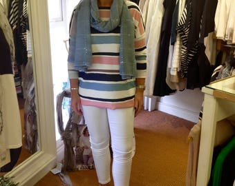 Navy, blue, pink and cream striped Top