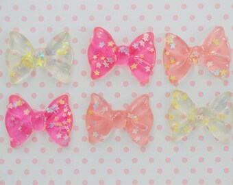 36mm Big Kawaii Pastel Pink Bow Decoden Cabochons - 6 piece set
