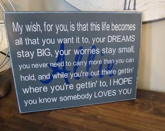 Personalized Birthday Gift  / My Wish For You / Wall Hanging / Girl Boy Teenager / Nursery / Baby Shower / Wedding