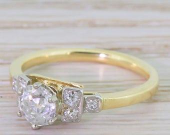 Art Deco 0.77 Carat Old Cut Diamond Engagement Ring, circa 1930