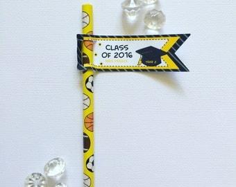Graduation pencil/straw flags