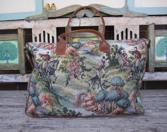 Large Vintage Tapestry Overnight Bag - Leather Straps - Travel Bag - Tote - Richmark Brand - Made in America