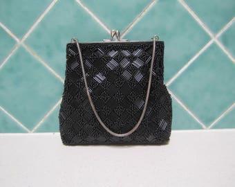 Vintage Black Beaded Handbag - 1950's - Evening Bag - Wedding