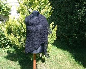Handmade knitted Black shawl