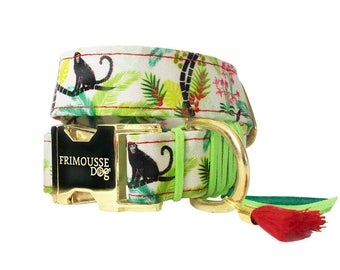 "Dog collar adjustable - collar adjustable cotton ""Néfertiti"""