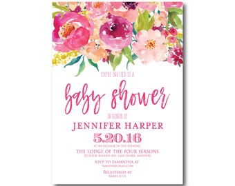 floral baby shower invitation printable gender neutral boho, Baby shower invitations