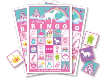 Princess BINGO Game - Kid's Printable Bingo Game - Bingo Game for Kids - Princess Party Game - Instant Download