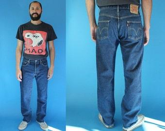 """Levis 501 30"""" Dark Wash Denim Jeans, Men's Levis Jeans Size 30, Levis 501 Size 30, 90s Levis 501s Distressed Jeans, Raw Hemline 501 Jeans 30"""