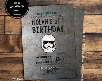 Star Wars Invitation (5x7 inches) Digital File OR Prints.  All wording can be changed.  (Free Shipping)