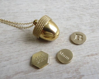 Secret Container Acorn Locket Necklace