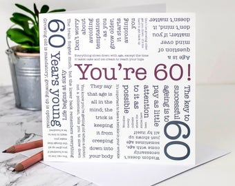 60th Birthday Card; 'You're 60!'; GC073