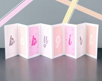 Personalised Baby Girl Concertina Card; New Baby Card; Personalised New Baby Card; Baby Girl Card; CC020