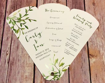 Wedding Program Fans, Petal Fan Programs, Fan Programs - Elegant Foliage