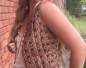 70's India Anokhi Vest, Hippie, Gypsy, Festival, Cotton, Black and Cinnamon, Size Extra Small, XS