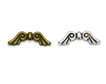 2x Vintage Angel Wing Bead 20mm - Antique Silver or Antique Gold