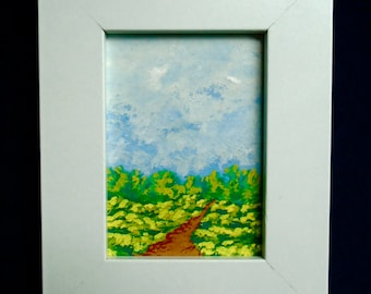 """Hiking Home #230 (ORIGINAL MINIATURE PAINTING) 2.5"""" x 3.5"""" aceo in a 4"""" x 5"""" frame by Mike Kraus"""