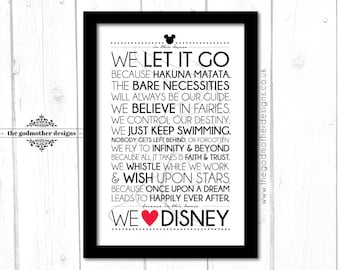 In This House We Love Disney - Typography Print - PRINT
