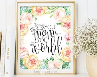 Printable mother's day, Mothers day gift print wall art decor gift for mom quote printable mum wall art gifts typographic home decor 6-43