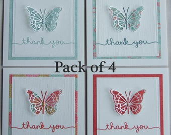 Handmade thank you cards, set of Thank You cards, butterfly Thank You cards, pop up cards, 3D cards, Pack of Thank You cards, greeting cards