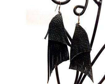 """Boho Leather earrings - """"Maleficient"""" - Chandelier Earrings - wings earrings - boho jewelry"""