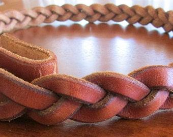 Braided Tan Leather Belt