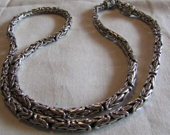 "Heavy Sterling Silver Byzantine Chain 24 3/4"" Long"