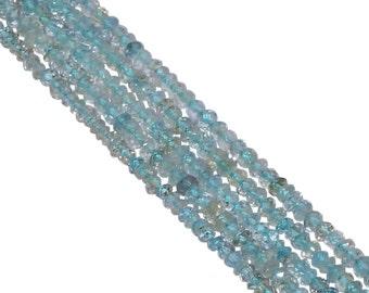Aquamarine Faceted Roundel Beads, Aquamarine 3-3.5mm Fine Faceted Roundel Beads Strand, Aquamarine Stone
