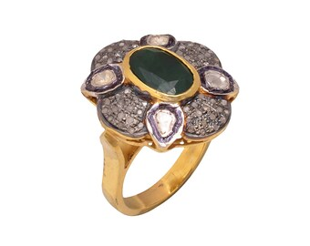 Diamond Ring, Victorian Jewelry, Victorian Ring, Silver Diamond Ring, Rose Cut Diamond Ring, Polki And Emerald Ring, Ring