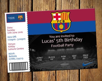 Kids Birthday Personalised Party Invitations Football Barcelona