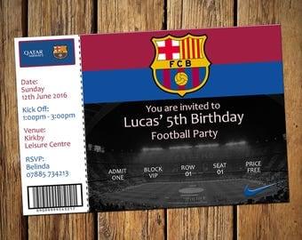 Barcelona invitation etsy kids birthday personalised party invitations football barcelona stopboris Gallery