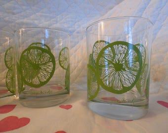 George Briard Lime Fruit Slices Vintage Rocks Barware Drinking Glass Tumbler Water