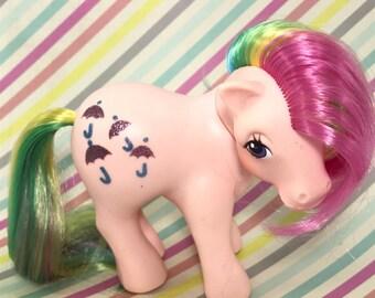 "FREE SHIPPING! Vintage MLP G1 My Little Pony ""Parasol"" Umbrella Pink Rainbow Glitter"