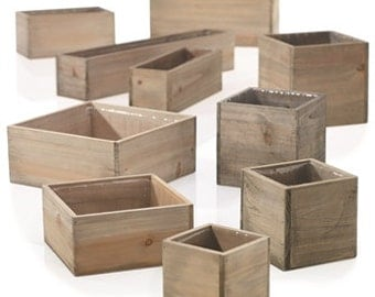 Wood planter with plastic liner,, square, rectangle, wood box, centerpiece, wedding, FREE SHIPPING IN U.S. ,
