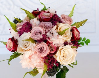 Mauve, Dusty Rose, Marsala, Moss Green, Ivory Bridal Bouquet, Preserved  Dried